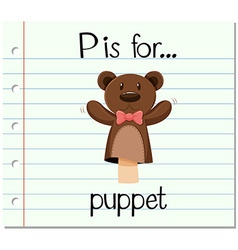 Flashcard letter p is for puppet vector