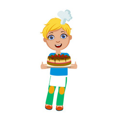 Boy holding chocolate party cake cute kid in vector