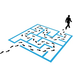 Business man path footprints solution puzzle vector