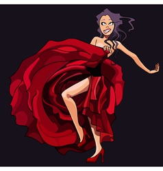 cartoon girl is dancing in a red dress vector image vector image