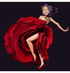 Cartoon girl is dancing in a red dress vector