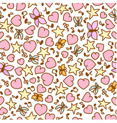 cartoon seamless pattern from pink heart notes vector image vector image