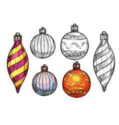 Christmas balls isolated sketch icons vector
