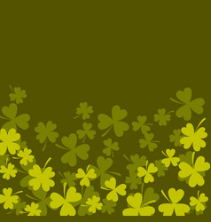 Clover shamrock dark green card background vector