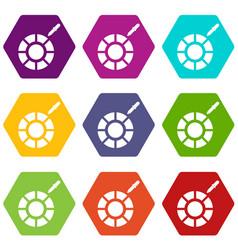 Color picker icon set color hexahedron vector