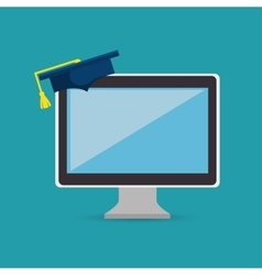 Education online computer graduation graphic vector