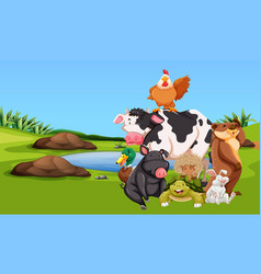 Farm animals on the farmyard vector