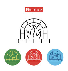fireplace icon christmas decorations vector image vector image