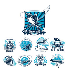 Fishing sport club badge set with fish and boat vector