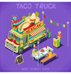 Food truck 07 vehicle isometric vector