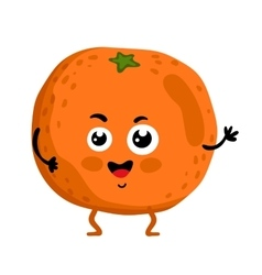 Funny fruit orange isolated cartoon character vector