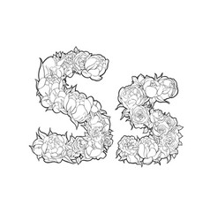 Letter s made of flowers vector