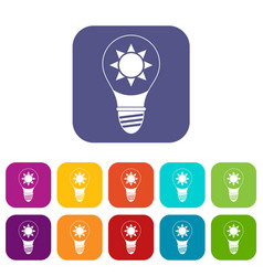 Light bulb with sun inside icons set flat vector