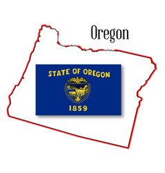 Oregon state map and flag vector