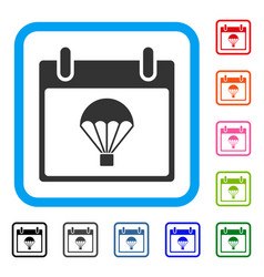 Parachute calendar day framed icon vector