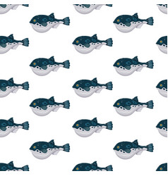 seamless pattern flat fugu pufferfish isolated on vector image