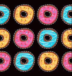 seamless pattern with glazed donuts vector image vector image