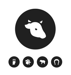 Set of 5 editable zoo icons includes symbols such vector