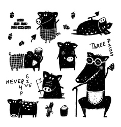 Three pigs and wolf funny set black white scribble vector image vector image
