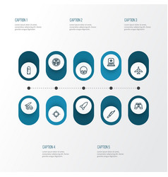 warfare outline icons set collection of zoom vector image