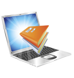 Books icon laptop concept vector
