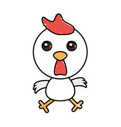 drawing chicken animal character vector image