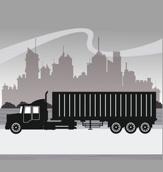 silhouette truck transport container urban vector image