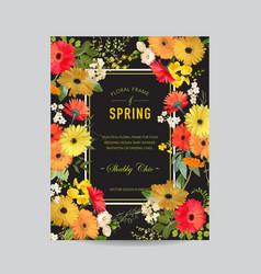 vintage summer and spring floral frame invitation vector image