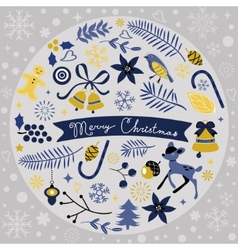 Beautiful Christmas round composition vector image