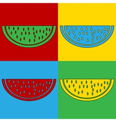 Pop art watermelon icons vector