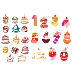 Collection of kids birthday icons vector