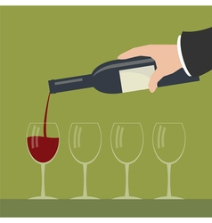 Serving wine vector