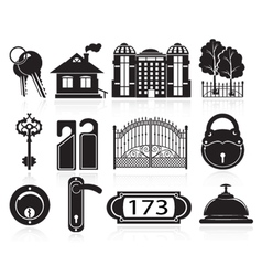 House and hotel icons vector