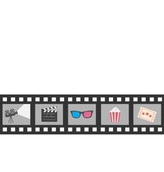 Film strip icon set Popcorn clapper board 3D vector image
