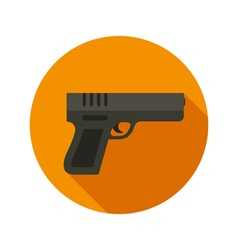 Gun flat style icon on round badge vector