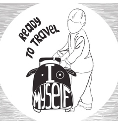 Ravel inspiration quotes on suitcase silhouette vector