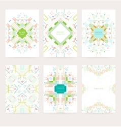 Set of geometric vintage colorful flyers vector