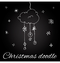 Christmas cloud in doodle style vector