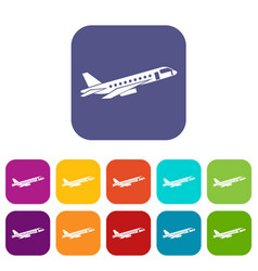 Airplane taking off icons set vector