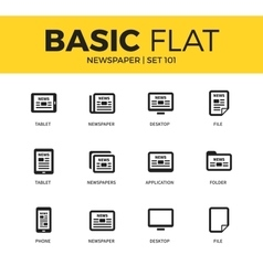 Basic set of newspaper icons vector