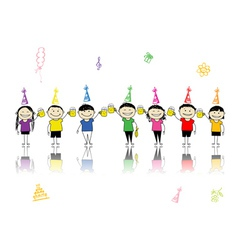 Birthday party friends with beer mugs for your des vector image vector image