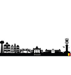 brussels city skyline belgium vector image