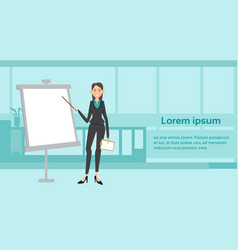 business woman giving presentation over white vector image vector image