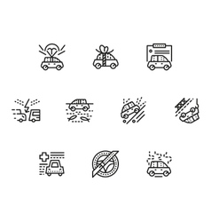 Car insurance simple line icons set vector image