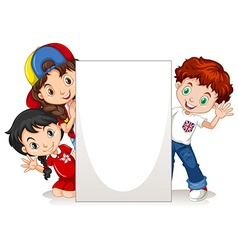 Children behind the blank sign vector image