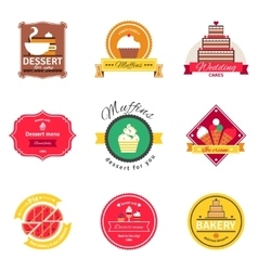 Confectionery and bakery flat emblems set vector