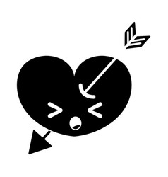 Contour sleeping heart with arrow kawaii character vector