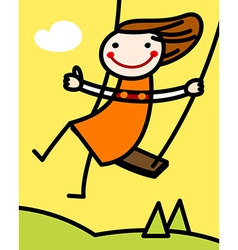 Girl on a swing at spring vector