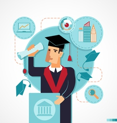 Graduate speaking at the podium speech vector image vector image