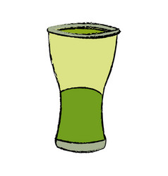 Green glass cup beverage drink bar object vector